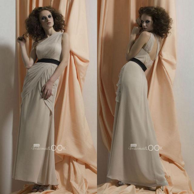 floor length pleated belt chiffon bridesmaids dress