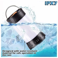 LumiParty Waterproof Camping Lantern LED 350 Lumen Camping Light USB Rechargeable Flashlight 5 Modes Outdoor Portable