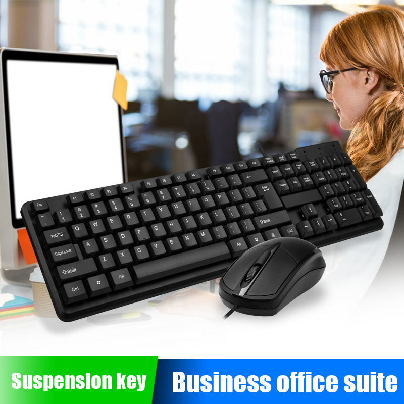 Wired <font><b>Mouse</b></font> <font><b>Keyboard</b></font> Set USB Desktop Sensitive Durable for Home Office <font><b>Gaming</b></font> NK-Shopping image