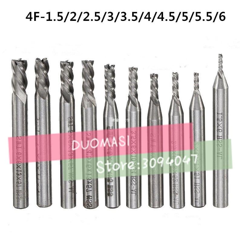 10pcs/set HSS End Mill  CNC Tools Diameter 1.5/2/2.5/3/3.5/4/4.5/5/5.5/6mm 4 Flute Milling Cutter Router Bit CNC Mill Drill Bit