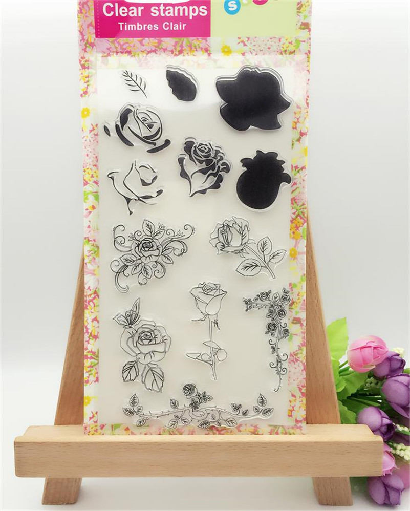 9 pcs beauty rose Clear Silicone Rubber Stamp for DIY scrapbooking photo album Decorative craft for Christmas gift CL-044 lovely animals and ballon design transparent clear silicone stamp for diy scrapbooking photo album clear stamp cl 278