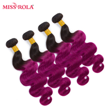Miss Rola Hair Pre-colored Ombre Malaysian Body Wave Non-remy Hair 4 Bundles #T1B/Purple Color  Human Hair Weaving  Extensions
