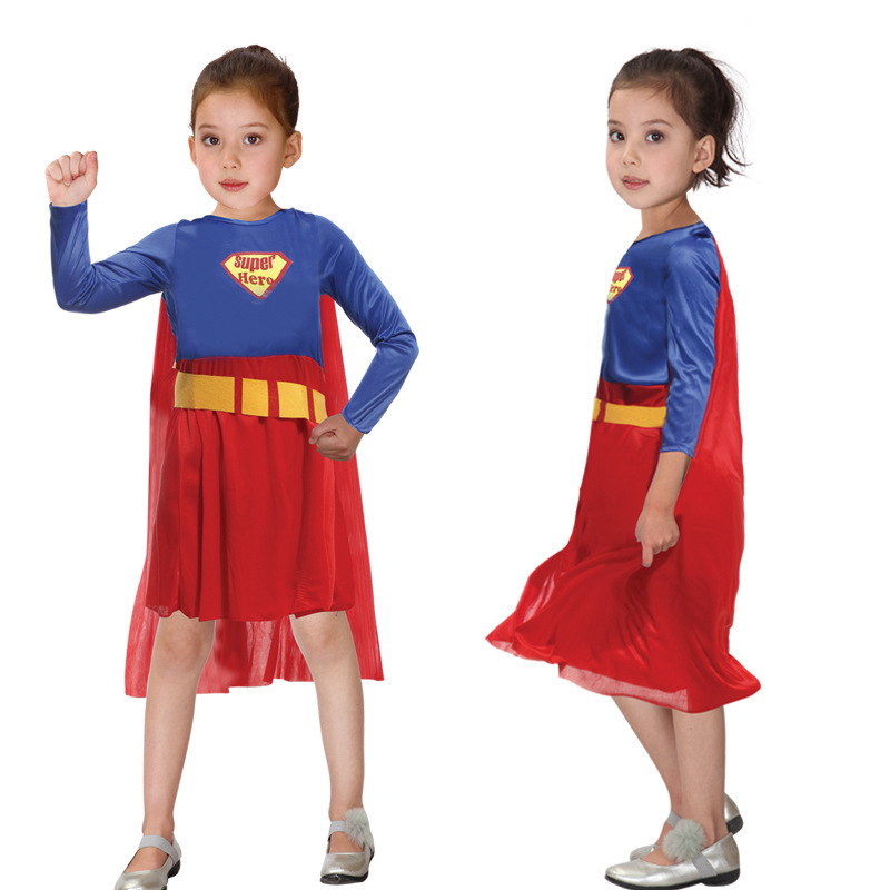 Free Shipping Kids Superman Costumes Halloween Christmas Masquerade Super Hero Cosplay Clothes Children Super Girl Fancy Dress