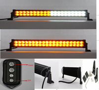 36W 7.5 Amber and White LED Strobe Work Driving Light Bar with Remote Controller for Car Truck SUV 4x4 ATV OffRoad Lights Maker