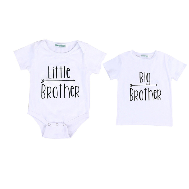 e463594dd2c79 Family Matching Sets Casual Little Brother Baby Boy Short Sleeve White  Letter Romper Big Brother T-shirt Tops Outfit Summer