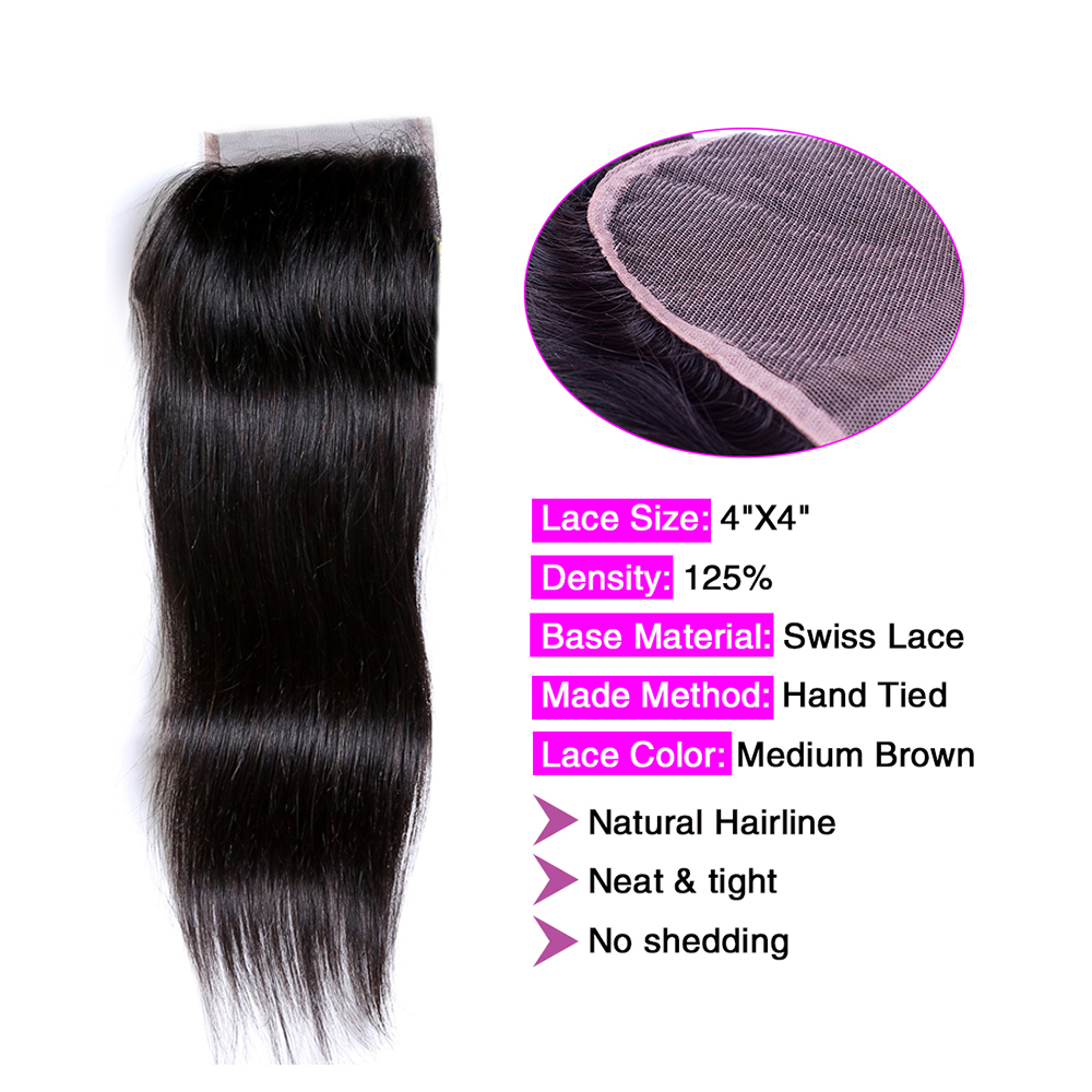 Image 3 - Ms Cat Hair 3 Bundles Deal with Closure 4 Pcs/Lot Brazilian Straight Hair Remy Human Hair Bundles With Closure & Baby Hair-in 3/4 Bundles with Closure from Hair Extensions & Wigs