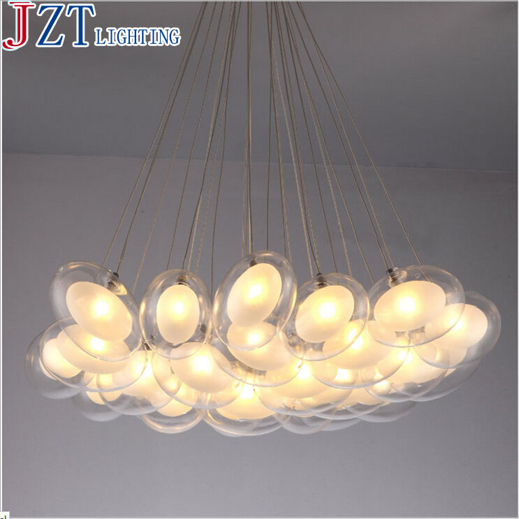 Z Modern Creative Glass Ball Pendant Lamp Artistic Goose Egg Shape Design G4 LED Lights Section Remote Control Sitting Room Lamp 15 19 25 37 heads droplight clear bubble ball goose egg birds eggs duck egg double deck glass ball transparent pendant light