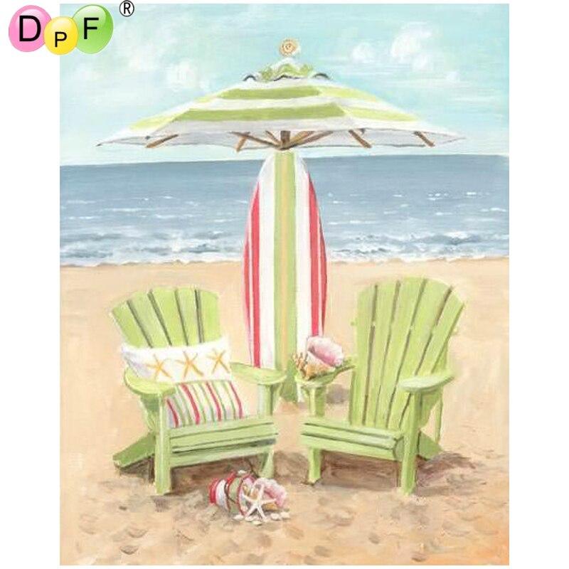 DPF DIY Sea parasol 5D diamond mosaic square diamond painting cross ...