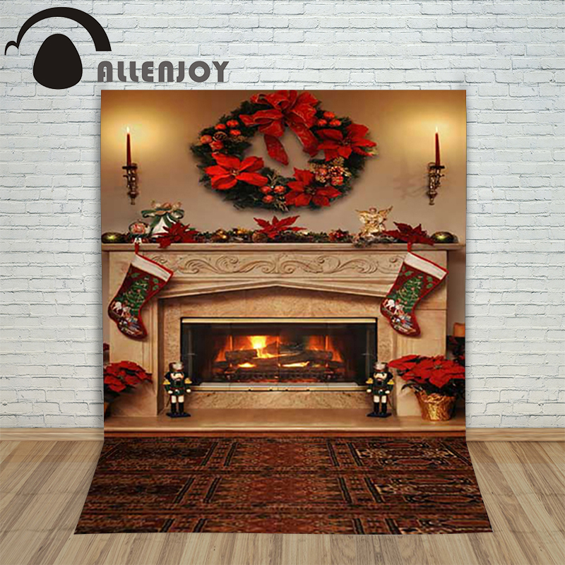Christmas children's photo background Carpet fireplace xmas sock wreath backdrop photography vinyl photo new year lovely allenjoy christmas photography backdrop wooden fireplace xmas sock gift children s photocall photographic customize festive