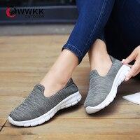 WWKK/женские кроссовки; коллекция 2019 года; сезон осень; дышащая сетчатая обувь для отдыха; женская спортивная обувь без застежки; прогулочная ...