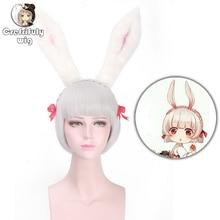 цена на Anime Onmyoji Silver Grey Short Bob Wig Cosplay Costume Halloween Synthetic Braiding Hair Wigs For Women