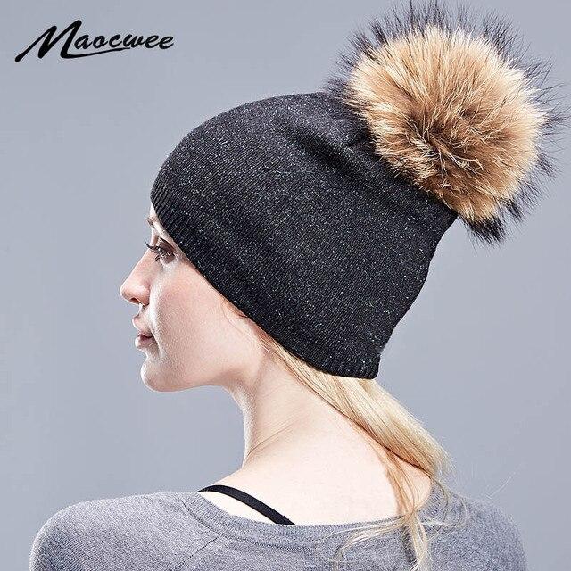 cd17eb8bf2cb Warm Natural Raccoon Fur Hats for Women Knitted Braid Beanie Female Caps  Pompon Headgear Winter Girl