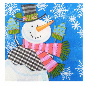 Image 2 - 20 בציר מפית נייר מודפס סנטה קלאוס איש שלג צביים מגזרת נייר servilletas חתונה חמוד ילדים מסיבת יום הולדת דקור