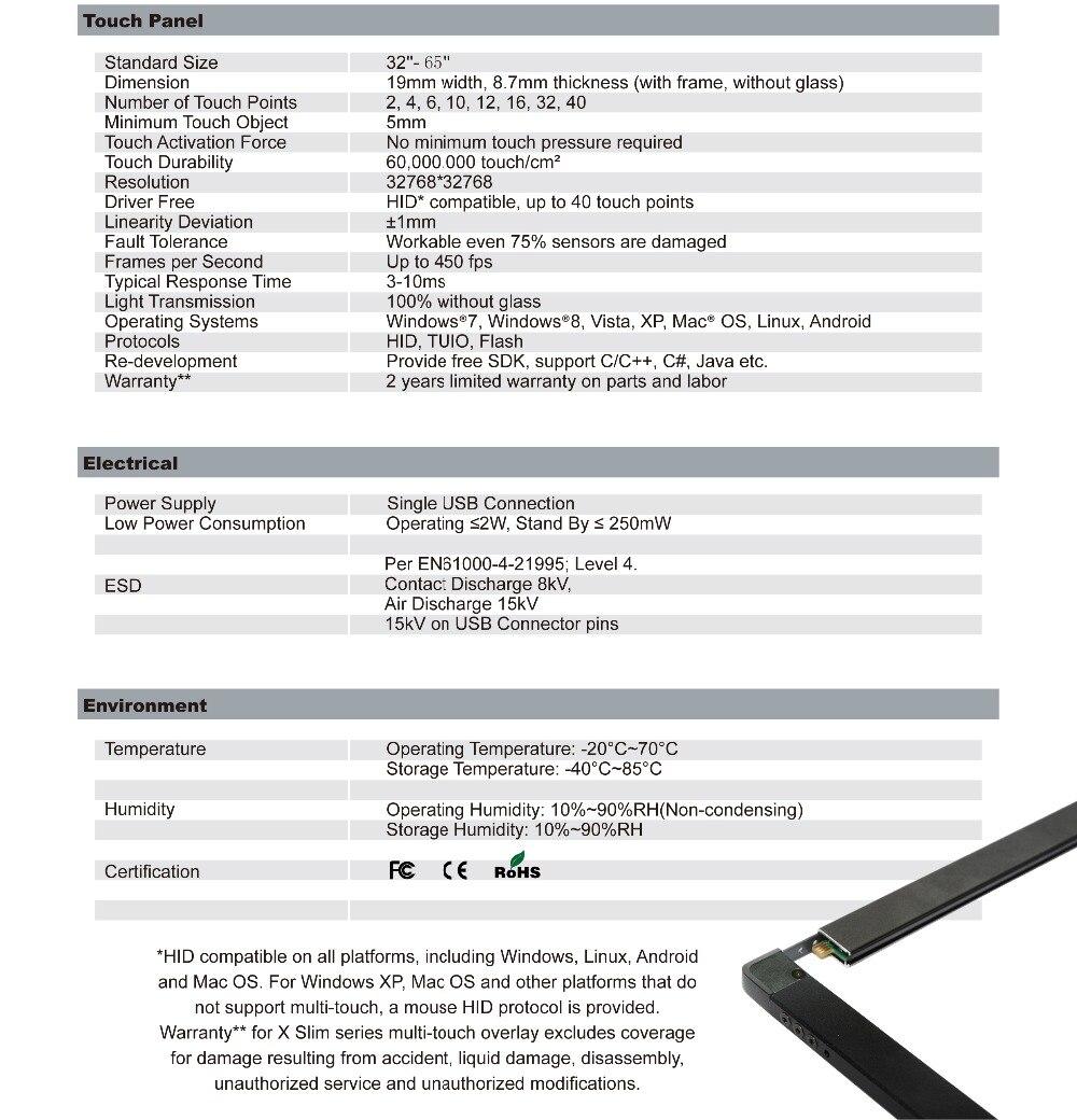 Bester preis! 40 berührungspunkte 65 zoll IR Touchscreen Rahmen ...