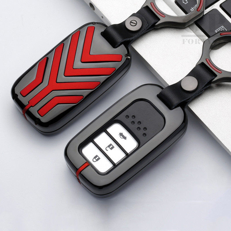 Stripe Zinc Alloy Car Key Cover Case Fob For Honda Hrv Civic 2017 Accord 2003-2007 Cr-v Freed Pilot Car Styling Keychain Holder carbon fiber leather car remote key case chain keyless fob cover for honda civic 2017 accord fit crv cr v xrv crosstour hrv jazz