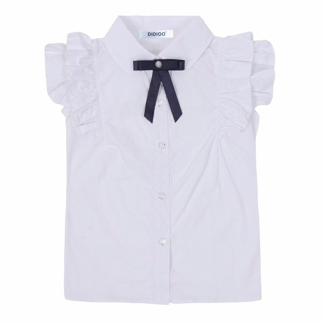 d2968685dc69b Manga de la colmena del verano blanco Blusas para Niñas Uniformes para el  colegio 100%