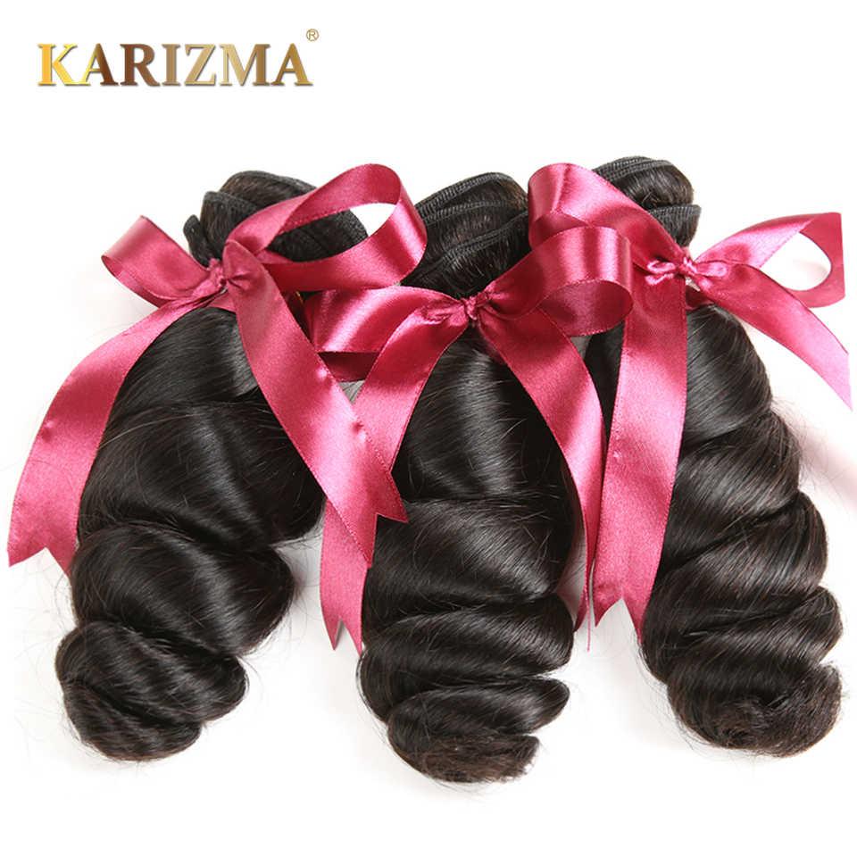 Extensiones brasileñas de pelo humano Karizma de onda suelta 3 en oferta de extensiones de pelo humano de 8-28 pulgadas 100% cabello Remy tejido se puede teñir Color negro Natural