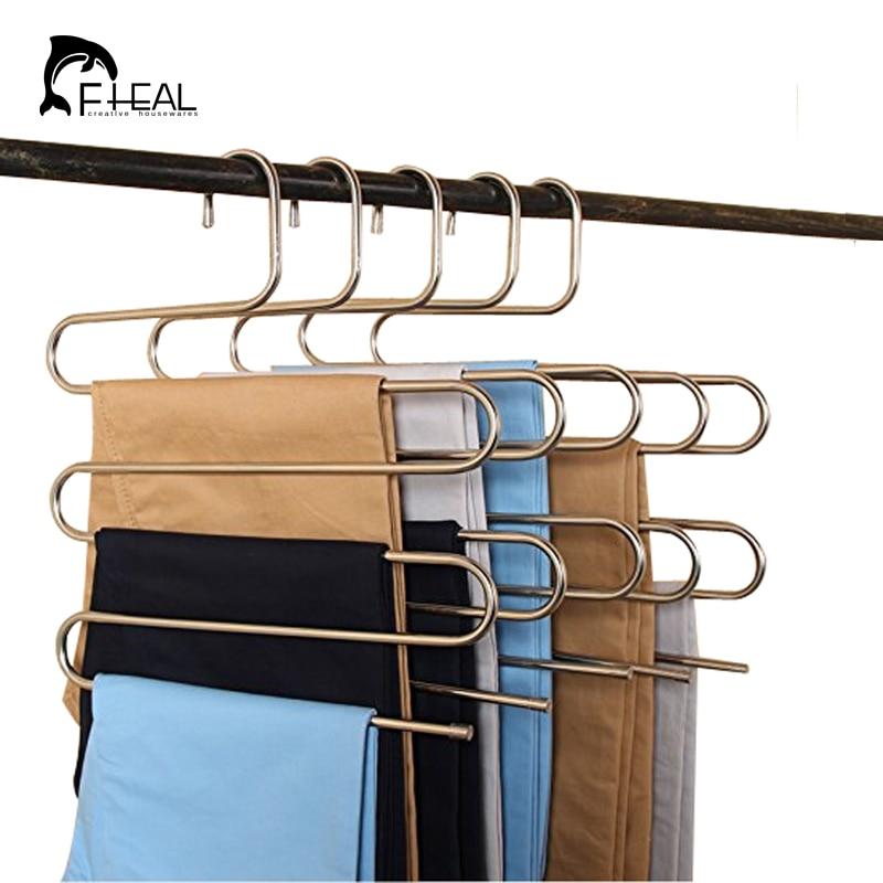 FHEAL 5 Tier Rvs S Type Broek Hangers Multifunctionele Broek Tie Sjaals Riem Handdoek antislip Magic Hanger Opbergrek