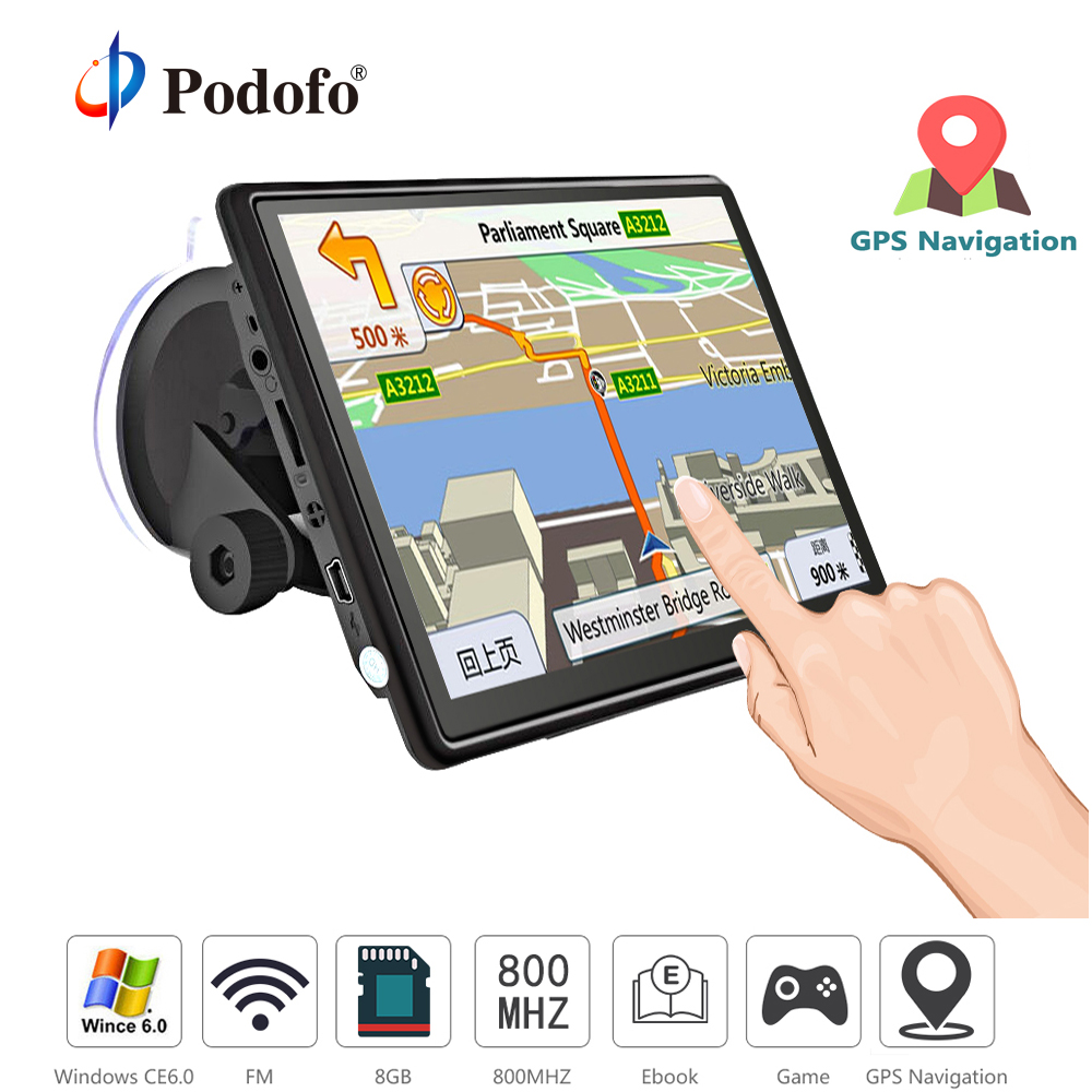 Podofo Car GPS Navigation FM Bluetooth AVIN Win CE 6.0 7 HD Touch Screen Sat nav Truck gps navigators automobile with Free Maps 704 7 inch truck car gps navigation navigator with free maps win ce 6 0 touch screen e book video audio game player function