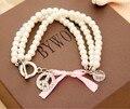 2015 Chegada Nova Moda Jóias Mulheres Pingentes Paz Pink Ribbon Bow Imite Pérola Charm Bracelet Para As Mulheres XY-B245