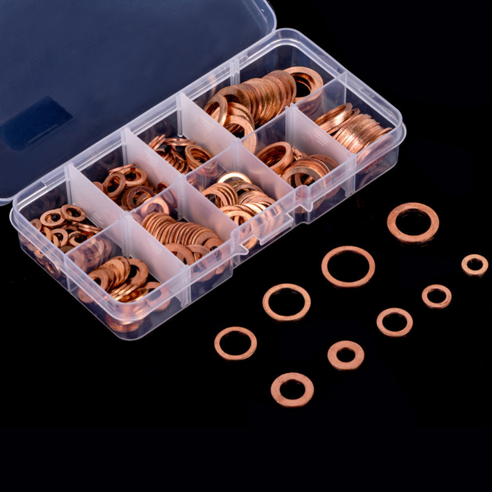 450Pc Assorted Solid Aluminum Car Engine Crush Washers Seal Flat Ring Gasket Set
