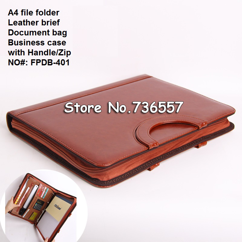 A4 business zipper leather portfilio manager document bag file folder holder brief case with handle with calculater cagie key holder a4 file zipper folder multifunction real estate company office manager folder business padfolio bag