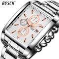 BOSCK トップブランドのメンズ腕時計ビジネスレロジオ Masculino スクエアクォーツ男腕時計メンズ腕時計フルスチール防水男性腕時計