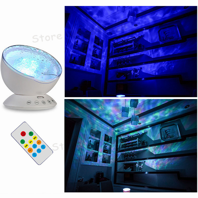 Novelty Colorful Remote Control Ocean Wave Starry Sky Projector Rotating LED Night Lights Music Player USB Night Lamp Luminaria starry sky star projector lamp led night light rotating ocean universe birthday luminaria table lamp propose marriage decoration