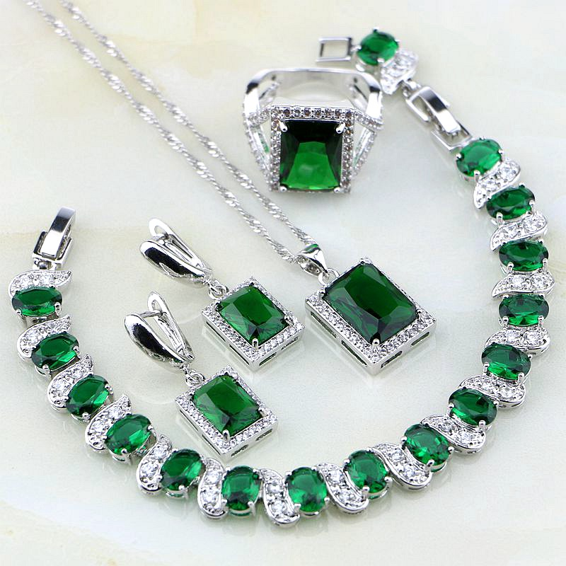 Square Shaped Green Created Emerald White CZ 925 Silver Jewelry Sets For Women Wedding Earring/Pendant/Necklace/Bracelet/Ring ainuoshi pure 18k white gold female diamond sets natural white onyx round shaped earring pendant necklace bracelet jewelry sets