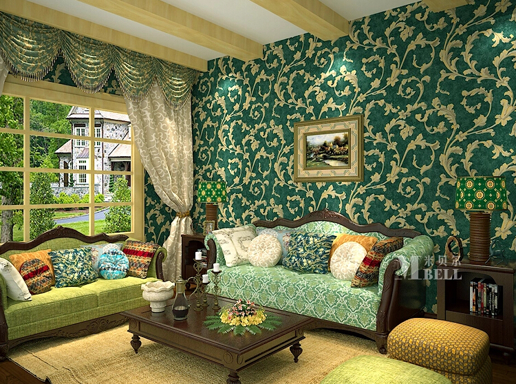 European Vintage Emerald Green Buttercup Sweet Pot Bronzing Non Woven Wallpaper Living Room Bedroom In Wallpapers From Home Improvement On