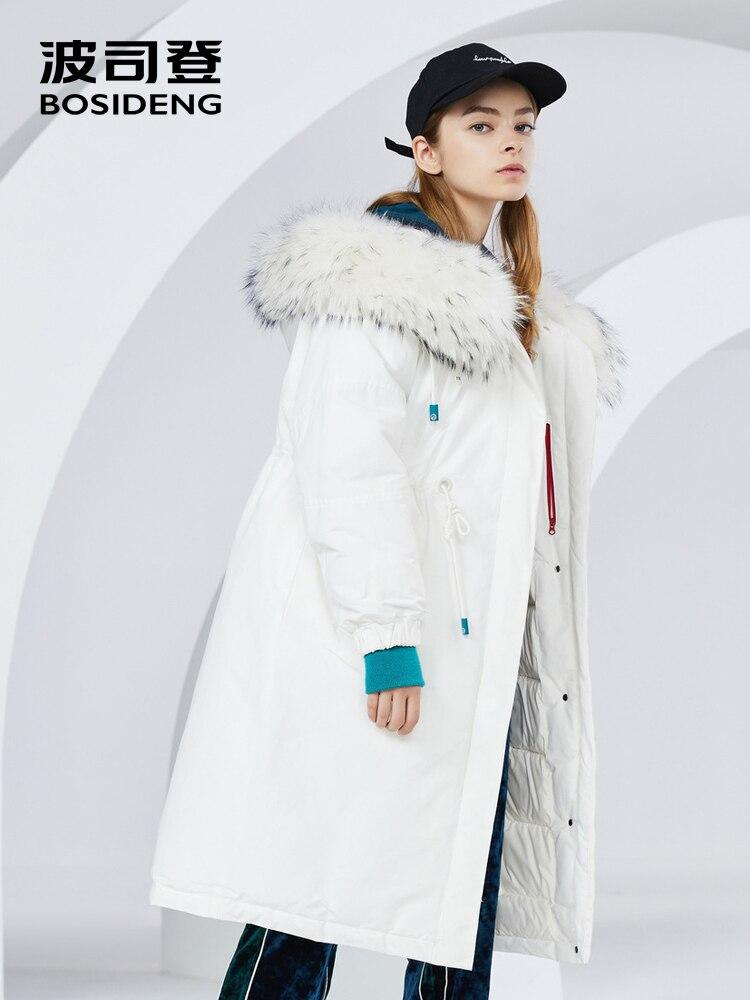 BOSIDENG 2018 nuovo inverno giù cappotto allentato a vita alta vita regolabile blu costola polsino reale collo di pelliccia addensare outwear B80142126