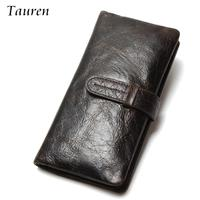 Luxury Brand High Quality 100 Top Genuine Oil Wax Cowhide Leather Men Long Bifold Wallet Purse