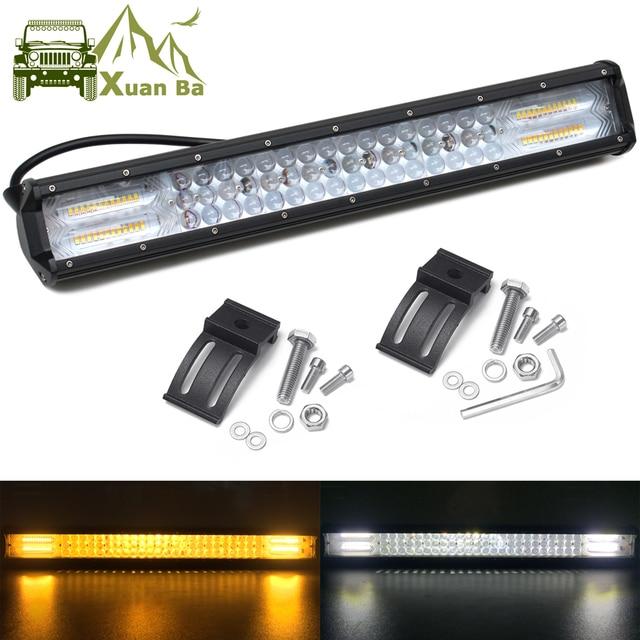20 inch Led Bar Light Spot Flood Combo For Off road Trucks Boat SUV ATV 4WD 4x4 Car White Amber Flash Strobe Driving Work Lights