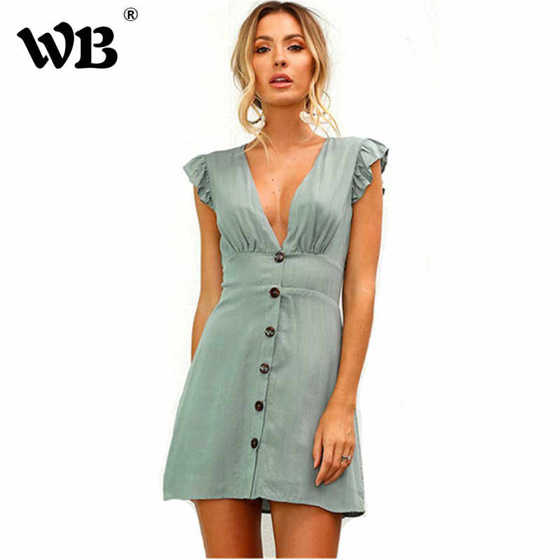 25a414676cb Fashion V Neck Ruffles Sleeve Mini Dress Women 2018 Casual Elastic Waist  Slim Tunic Short Summer
