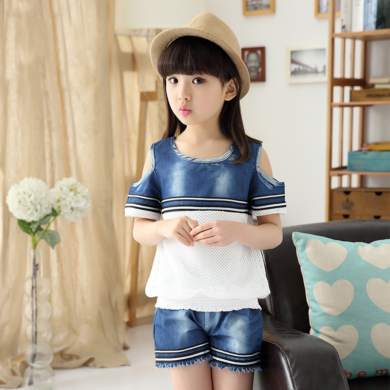 Kids Summer New Girls Fashion Denim Shorts-T-shirt  Vest Cotton Mesh Stitching Kids Clothing Suits Two Pieces Sets Blue