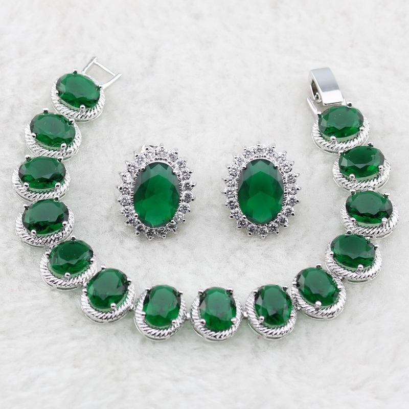 Lan Trendy Silver Planted Egg Shaped Jewelry Sets Green White AAA Zircon For Necklace Pendant /Earring /Bracelet For Wedding
