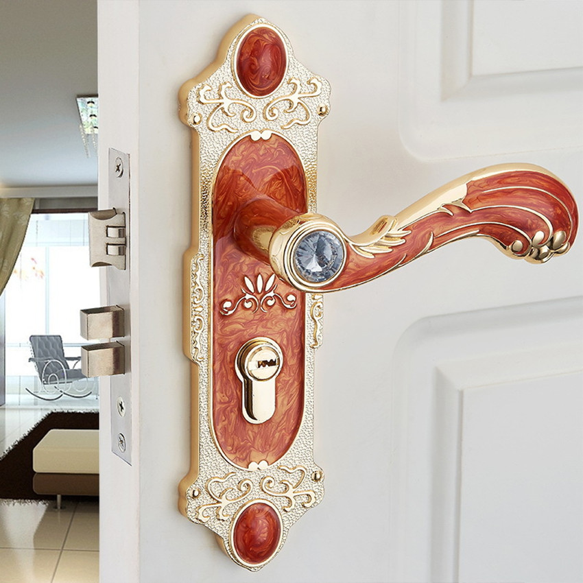 Cheaper fashion simple glass crystal live room book room door handles amber red indoor lock Mechanical handle lock bearing lock fashion style mechanical lock handles indoor split handle lock