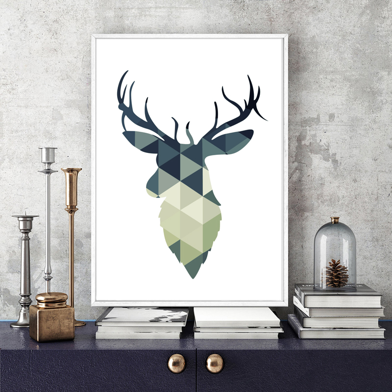 Geometric Purple Deer Wall Art Print Modern Poster Buck: Modern Minimalist Vintage Abstract Geometric Deer Antlers