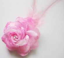 2017 Hot Sale Rosa Grampo de Cabelo Noiva Pequeno Subiu Headband Da Flor New Wedding Floral Garland Faixa de Cabelo Headbands Acessórios 1 pcs