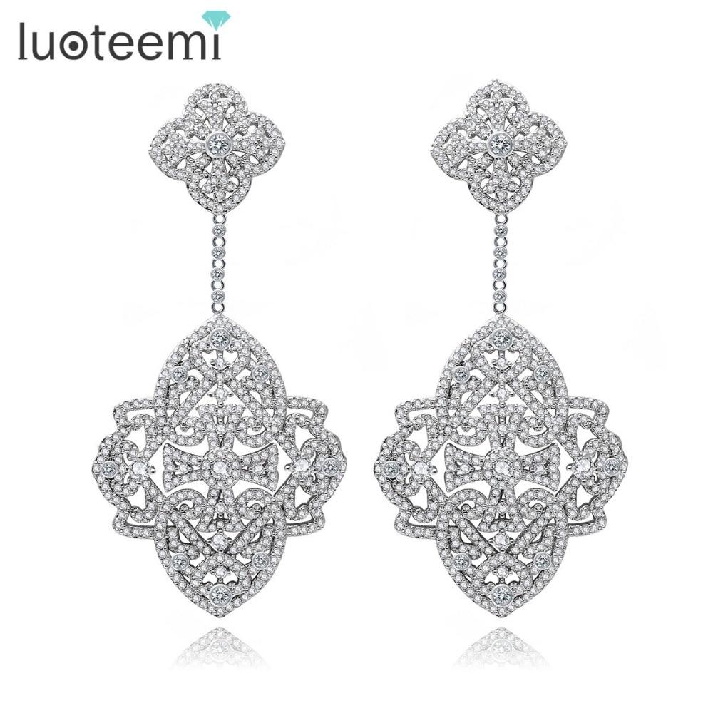 LUOTEEMI New Elegant Earrings Big Square CZ Crastal Flower Shape Drop Brincos White Gold Plated Jewelry  For Women Brinco Bijoux