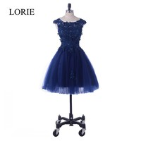 Short Prom Dresses In Navy Blue Robe de soiree 2018 LORIE Girls Homecoming Party Dresses Lace Flowers Appliques Beading