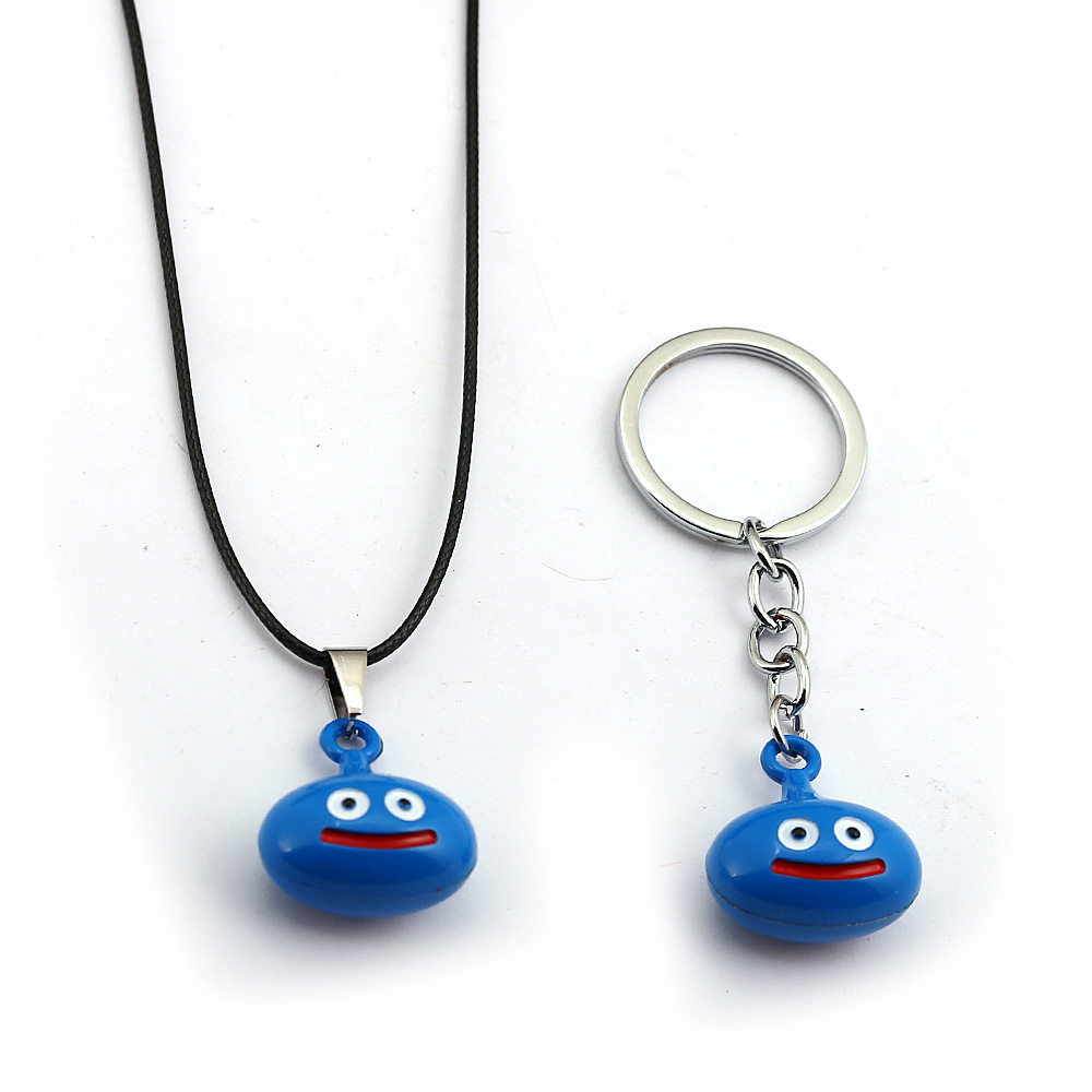 Game Dragon Quest Warrior Kuesuto Key Chain Enamel Metal Slime Pendant Necklace Leather Chain Choker Keychain Jewelry for Mens image