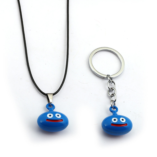 US $2 28 21% OFF|Game Dragon Quest Warrior Kuesuto Key Chain Enamel Metal  Slime Pendant Necklace Leather Chain Choker Keychain Jewelry for Mens-in  Key