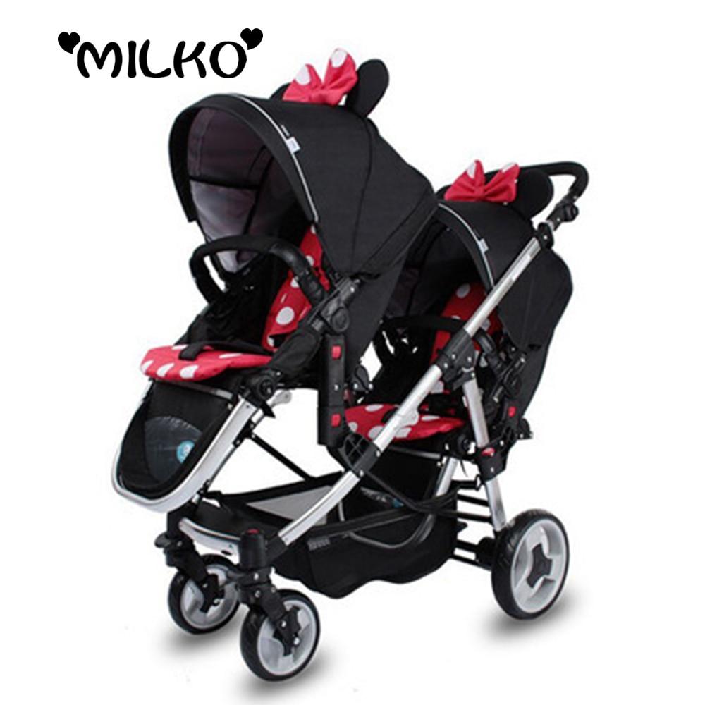 Twin Prams Travel Systems: Luxury Baby Double Stroller Foldable 3 In 1 Kinderwagen