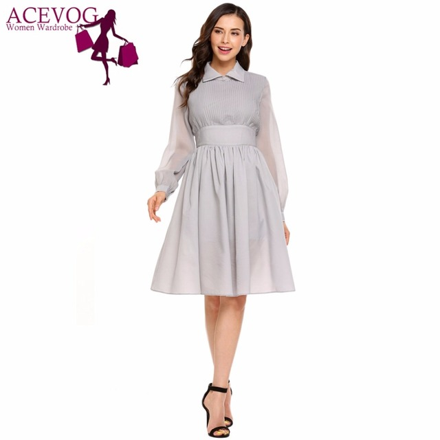 7c13ffa6aaf5 ACEVOG Vintage Swing Dress Women Elegant Autumn Long Sleeve Turn Down  Collar Pleated Party Knee Dresses Vestidos Femme Robe