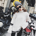 2017 new arrival sweaters novelty fashion high neck long sleeve pullovers women solid black blue knitted tops plus