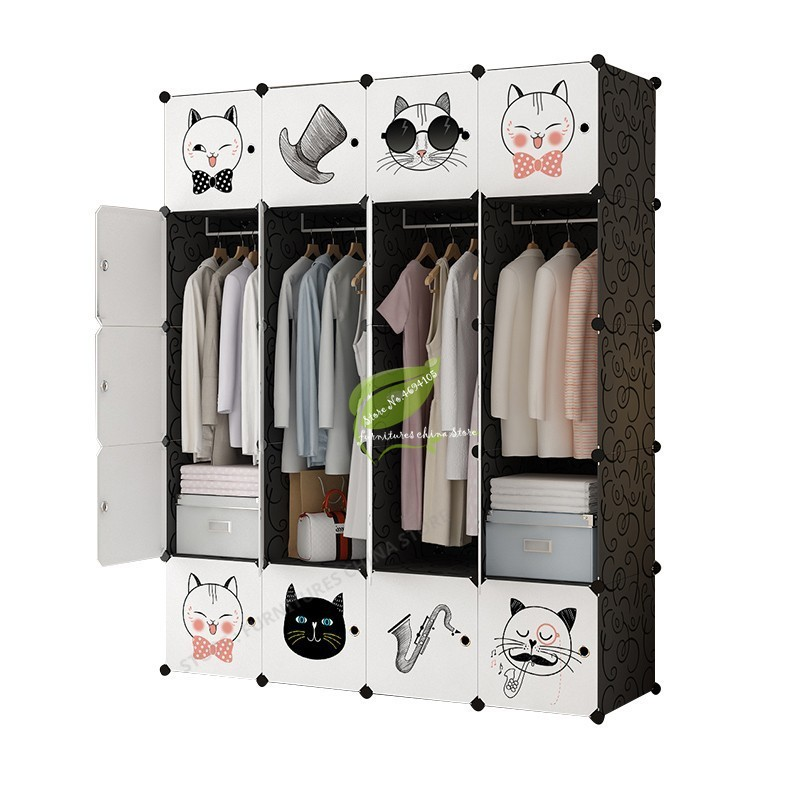 font b Closet b font Storage plastic Cabinet Furniture Assembly Minimalist Modern Zipper Metal Folded