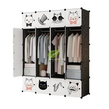 Closet Storage /plastic Cabinet Furniture Assembly Minimalist Modern Zipper Metal Folded Wardrobes with Load-bearing Rod