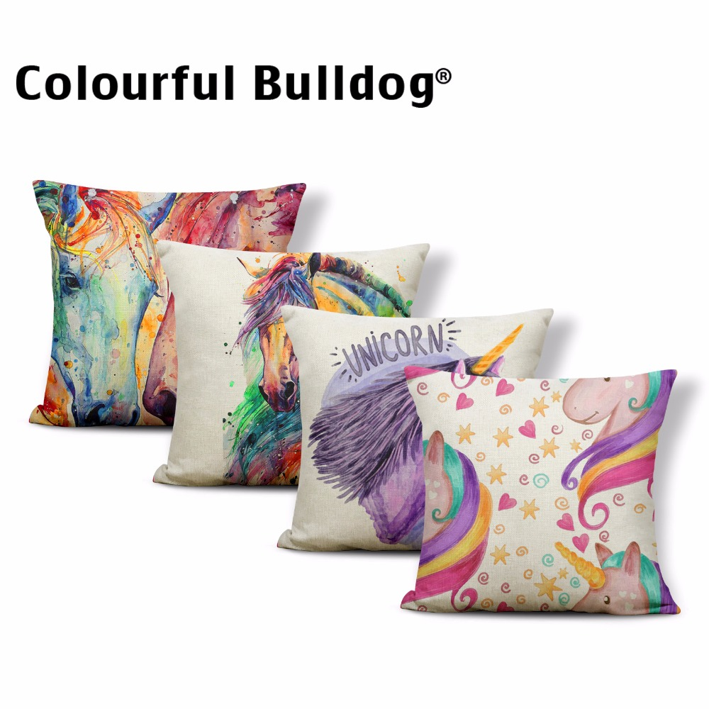 Cartoon <font><b>Unicorn</b></font> Horse Throw Pillowcase 43*43cm Watercolor Painting Beautiful <font><b>Cushion</b></font> <font><b>Cover</b></font> Living Room Couch Kid Gift Decoration image