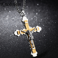 2017 Men S Jesus Cross Necklaces Pendants High Quality Gold Cilor Stainless Steel Jewelry Vintage Accessories
